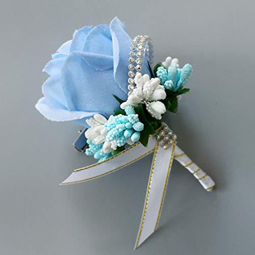 YO-HAPPY Erwachsene Hochzeit Brosche Bouquet Glitter künstliche Rose Blumenstrauß mit Pin Bridal Accessors Party Supplies