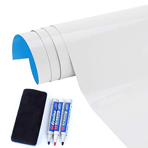 QYonline-JP ホワイトボード マグネットが付く 壁に貼れる 何度も貼り直し可能 自由にカット マーカーペン、イレーザー付き 60㎝×200㎝ 厚さ0.6㎜
