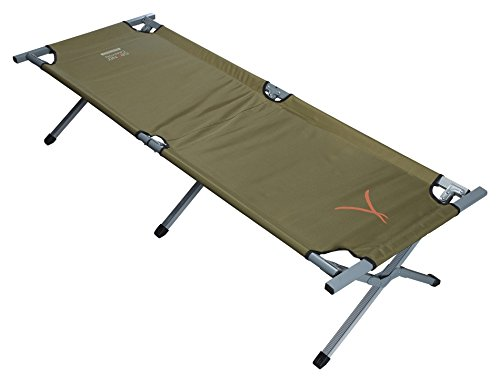 GRAND CANYON Camping Bed Extra Strong M - Lit de camping, lit de camp, pliant, charge admissible 150 kg, aluminium, 190 x 64 x 42 cm, olive, 308104