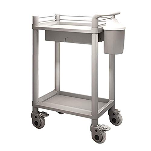Nuokix multicapa Hospital de tranvía, Material médico Rack, Médico carro de la herramienta 2 Nivel utilidad médica Carro con cajón de la suciedad Cubo, Abs belleza de la carretilla con la manija de fr