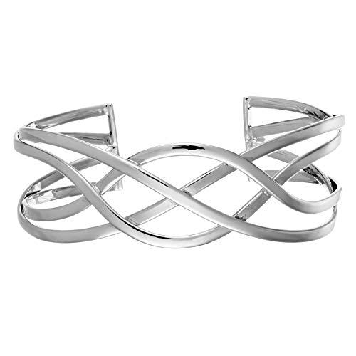 Silverly Frauen .925 Sterling Silber Irisch Keltisch Unendlichkeit Knoten Geflochtene Öffnen Armreif Armband