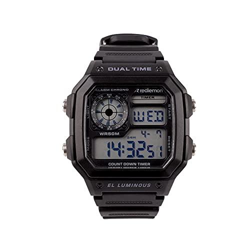 Redlemon Reloj Clásico Deportivo con Pantalla Digital, Resistente al Agua, Pantalla Retroiluminada, con Cronómetro, Alarma, Dual Time, Temporizador, Correa Ajustable, Modelo 1299. Negro