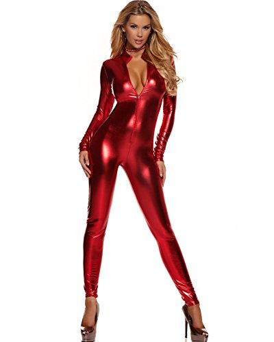 Forplay Women's Metallic Zip Front Mock Neck Catsuit Red Large/X-Large