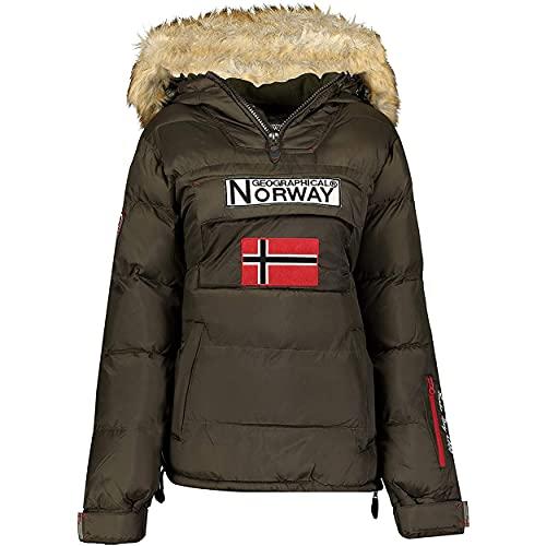 Geographical Norway BELANCOLIE Lady - Parka de Mujer cálida - Abrigo Capucha de Piel sintética - Chaqueta Invierno Acolchada - Chaqueta Corta Forro cálido - Regalo de Mujer (Caqui S) Talla 1