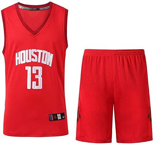 Uniforme de baloncesto de los hombres Set NAB Houston Rockets 13 # Jersey Baloncesto Harden clásico bordado baloncesto swingman Camisa sin mangas y pantalones cortos ( Color : Red , Size : 3XL )