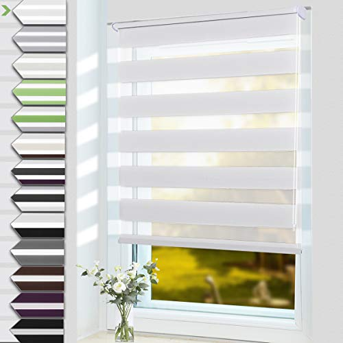 OUBO Doppelrollo Klemmfix ohne Bohren 90 x 150 cm (BxH) Weiß Fenster Duo Rollo - lichtdurchlässig und verdunkelnd Wandmontage Deckenmotage Sichtschutz Rollo mit Klemmträgern