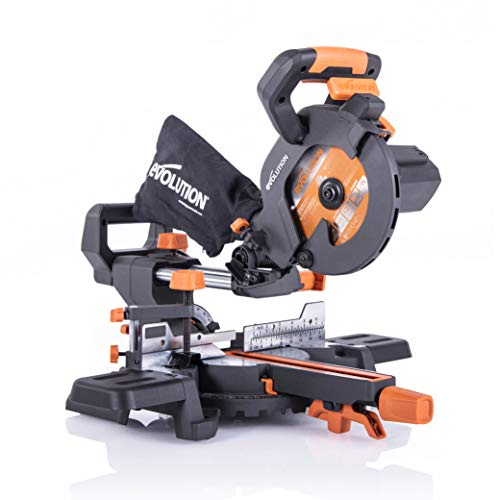 Evolution Power Tools R185SMS+ Compound Saw with Multi-Material Cutting, 45 Degree Bevel, 50 Degree Mitre, 210 mm Slide, 1200 W, 210 mm, 230 V, (3-Year Warranty)