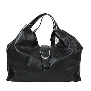 Fashion Shopping Gucci Women's Stirrup Black Calf Leather Large Hobo Bag 100 Handbag 296855 1000