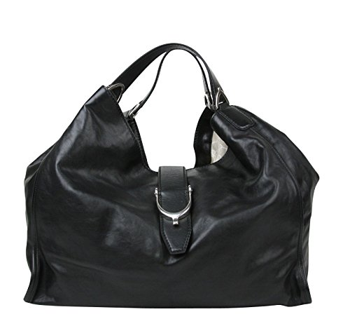 Fashion Shopping Gucci Women's Stirrup Black Calf Leather Large Hobo Bag 100 Handbag 296855
