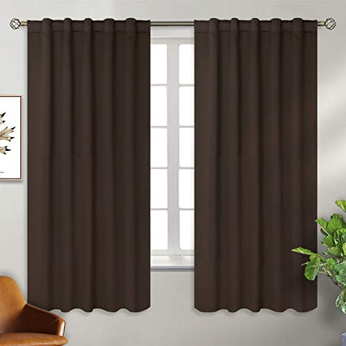 BGment Rod Pocket and Back Tab Blackout Curtains for Bedroom - Thermal Insulated Room Darkening Curtains for Living Room, 2 Window Curtain Panels (42 x 63 Inch, Brown)