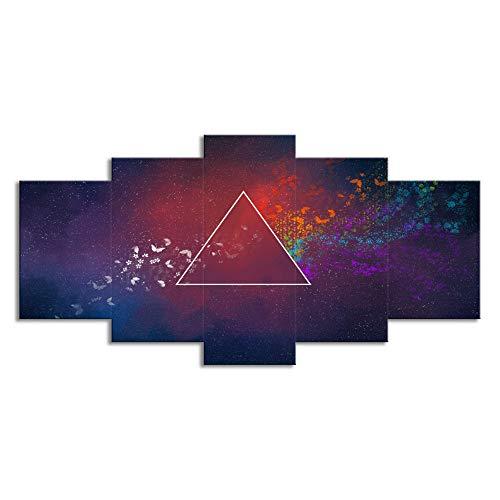 HANHJ Pink Floyd Moderne Leinwand Kunstwerk 5 Platten Abstrakte Rockmusik Gemälde Reproduktion Bilder Zu Foto Gedruckt Auf Leinwand Wandkunst Für Büro Decor,Innerframe-L
