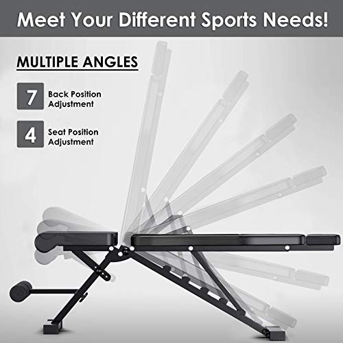 FLYFE Adjustable Weight Bench – Foldable and Compact Workout Bench – Incline and Decline Flat Utility Weight Bench – Strength Training Fitness Bench for Full Body Workout with Extended Headrest