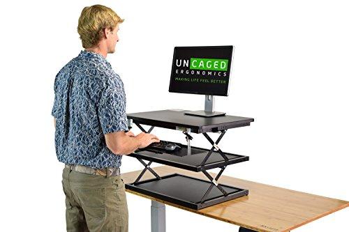 Uncaged Ergonomics ergonomica e alta per computer portatile e scrivania, Nero, 20x28 Top Panel | 4-21.5' Height Range