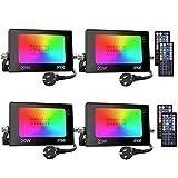 Onforu Foco RGB Led 20w (4 Pack), Foco Colores con Control Remoto, Foco led Interior de 20 Colores Cambiable y 6 Modos, Foco Led Exterior IP66 Impermeable, Función de Memoria para Fiesta Jardín Patio