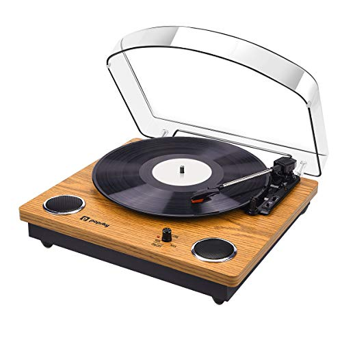 Record Player, 3-Speed Popsky Vintage Turntable with Bluetooth, Vinyl Player...