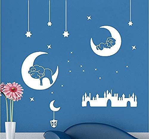 Fotobehang-DIY maan en ster muur decoratie poster 100x90cm