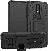 for Nokia 7.1 Case, Removable Protective Cover Double Layer Hard PC and Silicone TPU Back Shell Heavy Sturdy with Stand for Nokia 7.1 2018 TA-1085 5.84-inchs Smartphone, Black