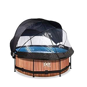 EXIT Piscina de madera, diámetro de 244 x 76 cm, con cubierta, toldo y bomba de filtro, color marrón
