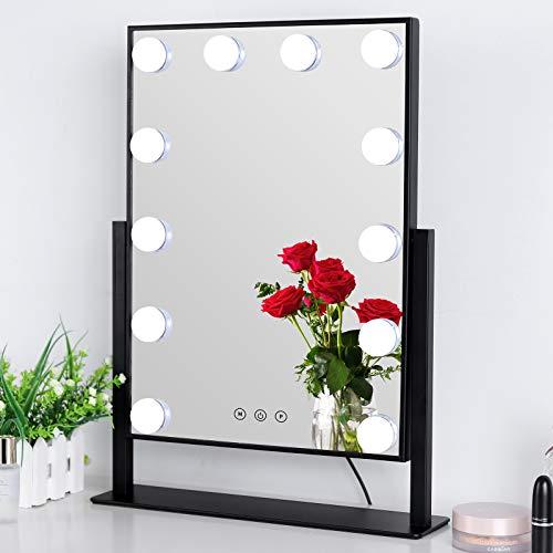 Meidom Spiegel mit Beleuchtung, 360° Drehbar Hollywood Spiegel mit 3 Farbe Licht Umwandlung, 12 Dimmbare LED Schminkspiegel mit Licht - Schwarz (L 35.5cm * H 47.5cm)