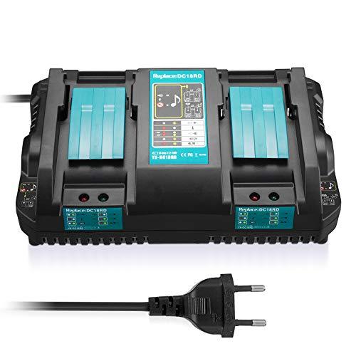 FirstPower DC18RD Dual Port Ladegerät für Makita 14.4V-18V Lithium-Ionen-Akku Kompatibel mit Makita BL1815 BL1830 BL1840 BL1850 BL1860 BL1430 BL1450 Akkus