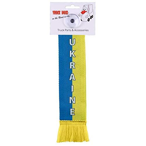 TRUCK DUCK® LKW Auto Minischal Ukraine Mini Schal Wimpel Fahne Flagge Saugnapf Spiegel Deko