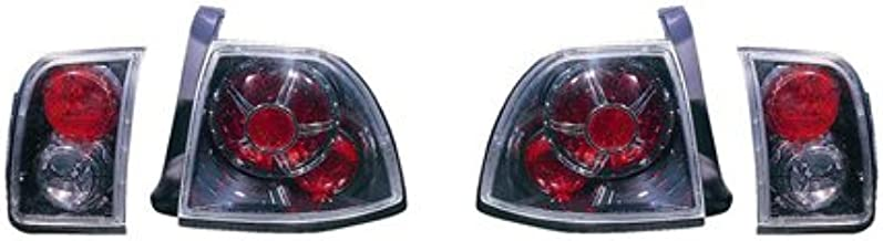 Fits Honda Accord Coupe/Sedan 1996-1997 Tail Lights (Inner & Outer) Assembly Unit Gun Metal Black Type HO2811166
