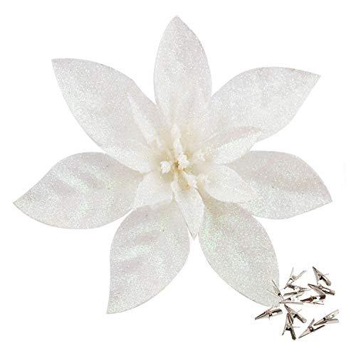 GL-Turelfies - 12 flores de Navidad con purpurina (16 cm) con 12 clips de flores artificiales para árbol de Navidad (blanco)