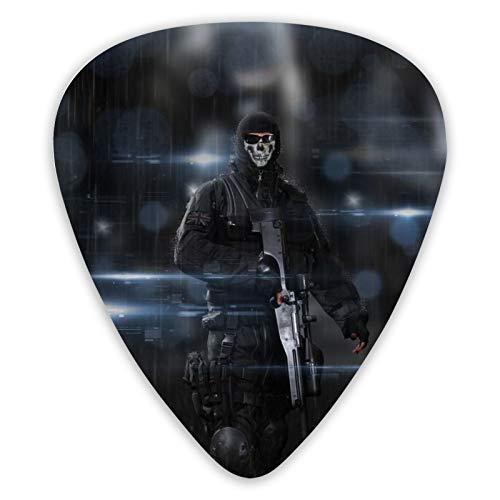 Call Of Duty Ghosts - Púas para guitarra eléctrica (12 unidades, incluye púas de 0,46 mm, 0,71 mm, 0,96 mm)