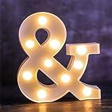 Letra de luces LED del alfabeto – Letras luminosas – 26 alfabeto y 10 números luz nocturna decorativa – Lámpara alimentada por pilas con plástico para fiestas en casa, bar, cumpleaños (&)