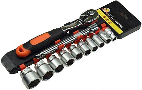 """Steckschlüsselsatz mit Knarre, 12-teilig, 3/8"""", 10-24mm, 150mm Verlängerung"""