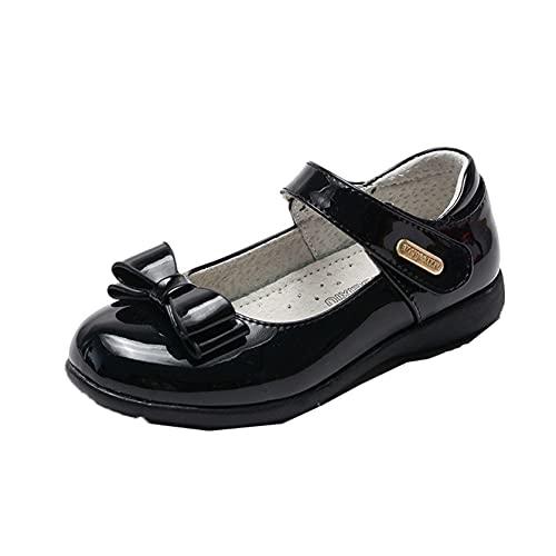 Zapatos Planos para niñas Transpirables Resistentes al Desgaste Suela Suave Zapatos de Princesa con Lazo Zapatos de Cuero para niños Rendimiento Escolar Zapatos Mary Jane