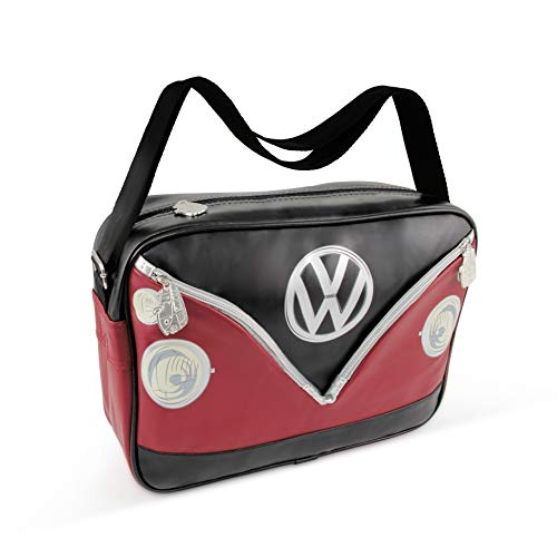 BRISA VW Collection Volkswagen VW T1 Bus Transporter Schoudertas Landschapsformaat- Rood/zwart