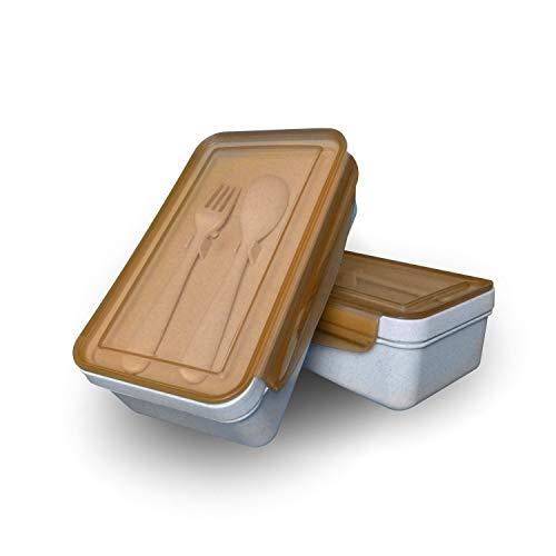 fropro® nachhaltige Brotdose | Lunch-Box aus Weizenstroh mit Besteck Set + herausnehmbare Trennwand, BPA-freie Eco Brotzeitbox