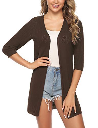 iClosam Suéter de punto con frente abierto y manga 3/4 para mujer -  Beige -  XX-Large