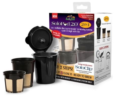 SOLOFILL 2.0 2in1 Refillable Filter Cup for Keurig 2.0 K200, K300,...