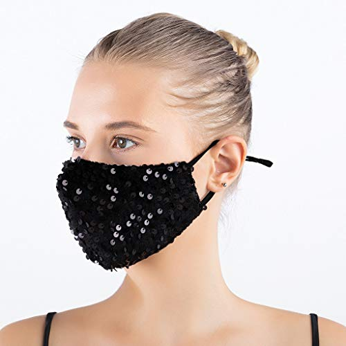 ddfb 4PCS Women Face Covering Washable UK Velvet with Sequin Bling Sparkly Decorative Dustproof Reusable Fashion Adjustable Face Protection for Masquerade Wedding Special Occasion