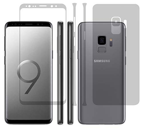 """Gadgets Wrap Ultra Clear 360 Degree Hd Shield Full Body + Screen Coverage Corner Curved Scratch Guard Edge To Edge Protector For Samsung Galaxy S9 / Galaxy S9 5.8""""Inch 2018 [Full Screen Coverage + Full Suit Body Skin Protector ][360] Flexible Front + Back Anti-Bubble / Extreme Clarity / Touch Responsive Shield / Smooth"""