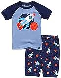 Boys Short Sleeve Sleepwear Pajamas Set 2pcs Set Rocket Fire M