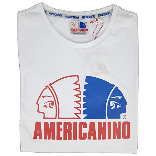 Americanino - Camiseta de manga corta para hombre, 100% algodón puro, M, L, XL, XXL, 3XL blanco L