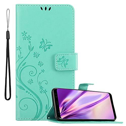 Cadorabo Hülle für Samsung Galaxy S8 in FLORAL TÜRKIS Handyhülle im Blumen Design mit Magnetverschluss, Standfunktion und 3 Kartenfächern Case Cover Schutzhülle Etui Tasche