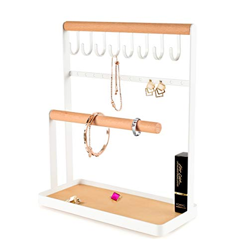 PAMANO Jewellery Stand Holder, 4-Tier Necklace Hanging Wooden Ring Organizer Earring Tray, 8 Hooks 12 Earring Holes Storage Necklaces, Bracelets, Rings and Watches on Desk Tabletop