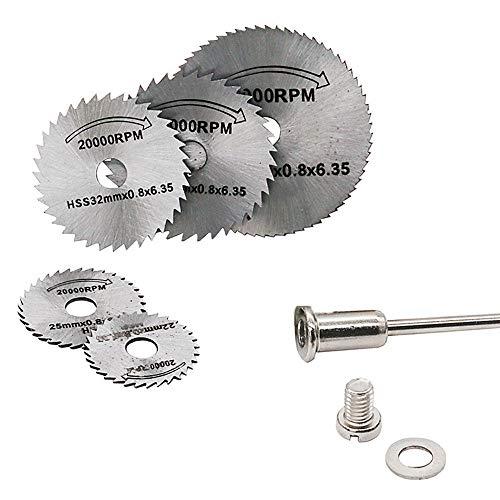 6PCS Mini Circular Saw Blades Set HSS Rotary Tool Cutting Disc Kit Accessories, Metal Drill Cutting Discs for Wood Plastic Metal Cutting