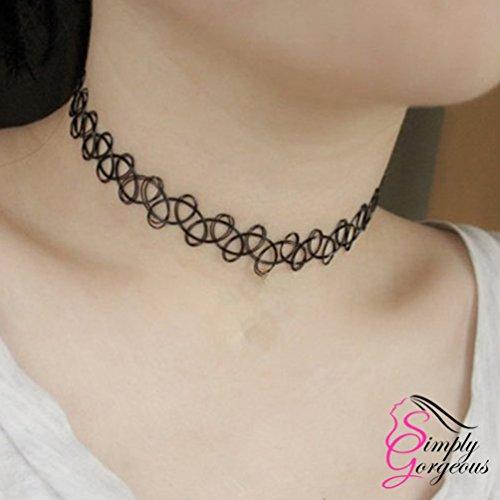 Tatouage choker extensible rétro collier