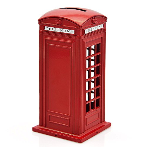 KAV Original British English Metal Alloy Money Coin Spare Change Piggy London Street Red Phone Booth Bank Souvenir Model Box Jar, 14 cm
