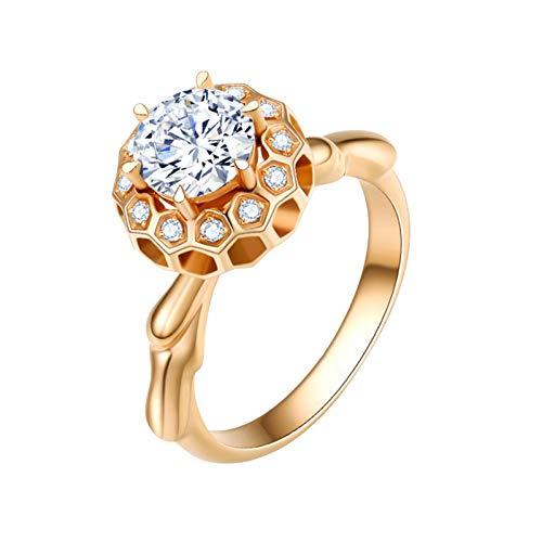 Ubestlove Indischer Ring Gold Bienenwabe Freundschaftsringe Verstellbar 0.3Ct Diamant Ringe Größe 58