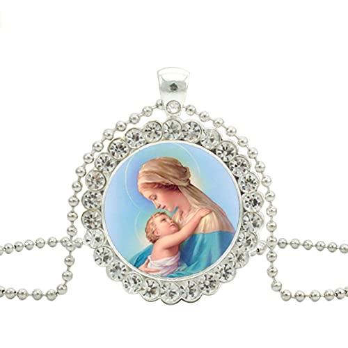 Revilium Bendita Virgen María, Collar De Cristal, Colgante para Madre De Bebé, Joyería para Mujeres Cristianas, Colgantes, Collares