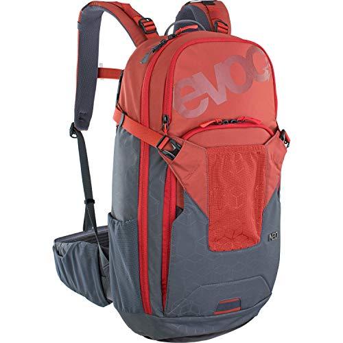 EVOC NEO 16l Protektor Rucksack Fahrradrucksack Backpack (Größe: L/XL, TÜV/GS-zertifizierte AIRSHIELD Protektortechnologie, 360° Belüftung, inkl. Regenhülle), Chili Rot / Carbon Grau
