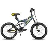 JOYSTAR - Mountain bike da 20 pollici Full Dual Sospension per bambini con telaio in acciaio da 15 pollici e azionamento a 1 velocità con ruote da 20 pollici, supporto incluso, colore: Blu