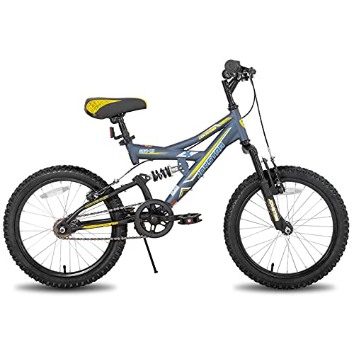 JOYSTAR Contender 20' Full Dual Suspension VTT pour enfant avec cadre en acier 15' et 1 vitesse avec roues de 20' avec béquille Bleu
