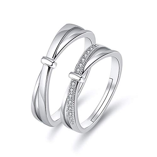 Open Rings for Women,Silver Couple Ring Cross Bow Tie Zirconia Fashion Charm Adjustable Open Knuckle Tail Ring Finger Joint Toe Ring Jewelry for Women Girls Gift Wedding Engagement Mother's Day